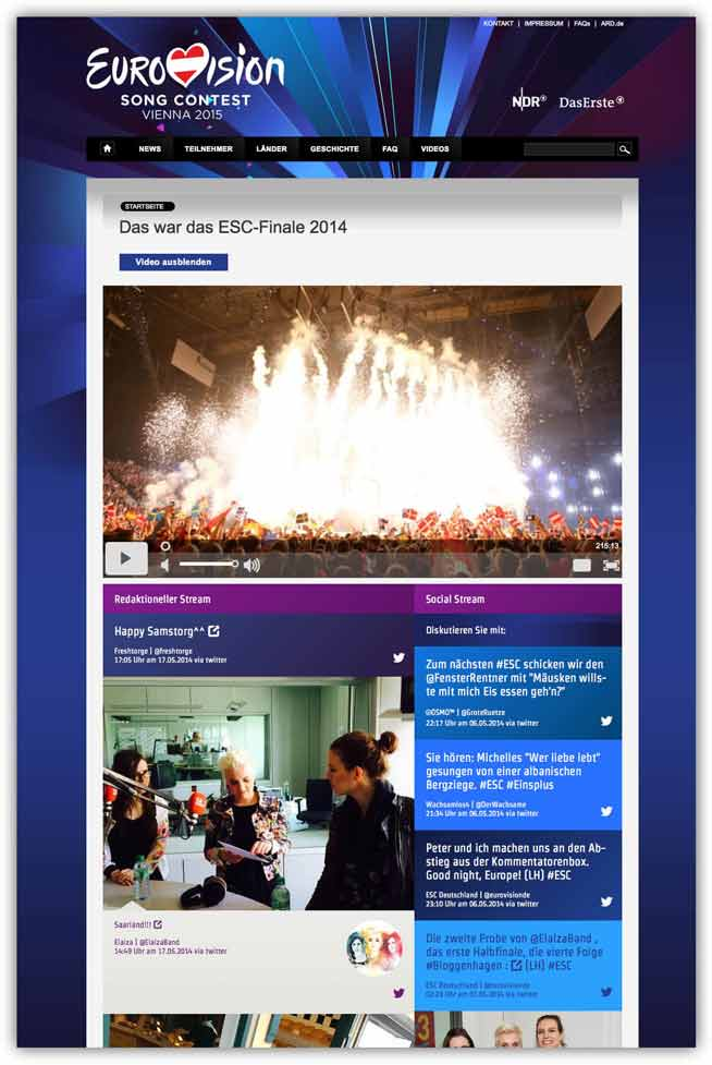 eurovision social wall screenshot